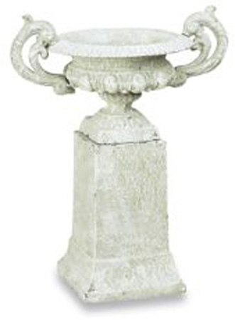 SMALL CAST IRON URN W/HANDLES ON WHITE WASH TALL BASE