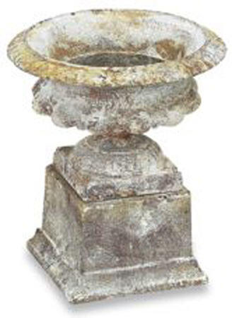 PETITE LOW RIBBED TERRA WASH FINISH CAST IRON URN