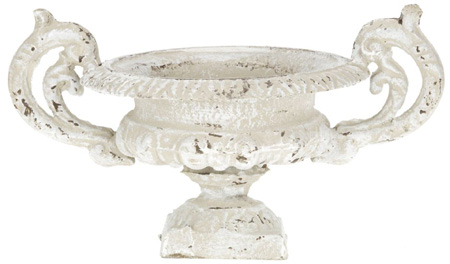 PETITE FRENCH URN W/HANDLES PUTTY FINISHED CAST