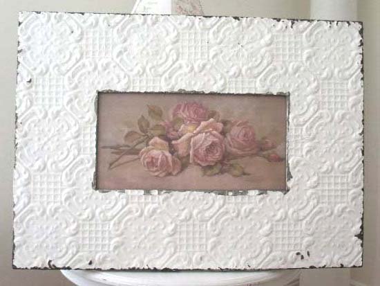 """Antique Ceiling Tin Frames with 6"""" Wide Tin"""