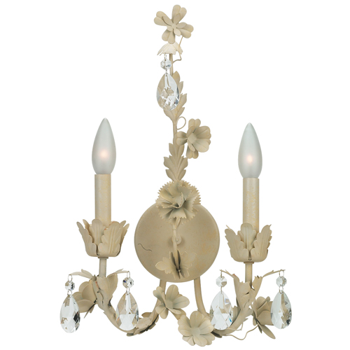 Wallsconce - 2-arm Leaf & Flwr - Ivory
