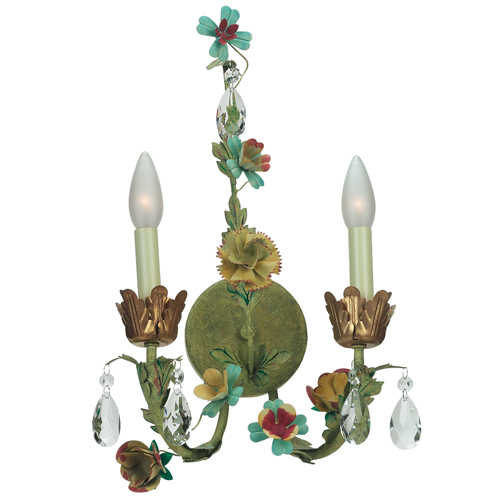 Wallsconce - 2-arm Leaf & Flwr - Multi