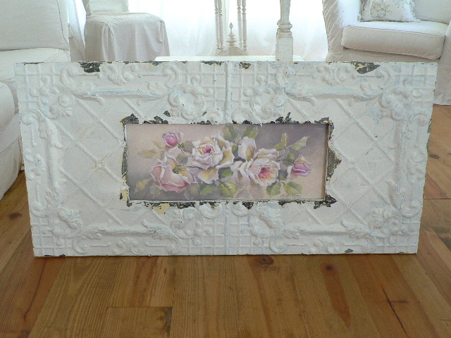BELLA BIANCA IN SHABBY FLAKEY ANTIQUE CEILING TIN FRAME