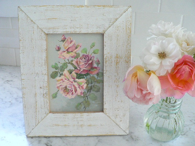GARDEN JEWEL by CHRISTIE REPASY IN SHABBY OLD WOOD FRAME