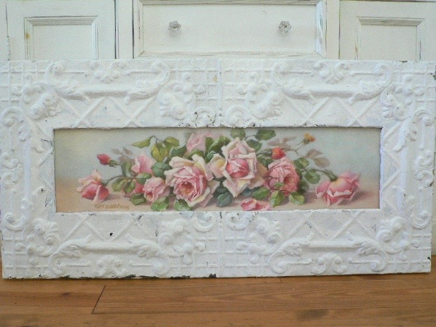 MELISSA YARDLONG IN ANTIQUE SHABBY CEILING TIN FRAME