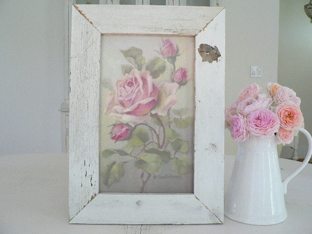 PINK DELIGHT IN SHABBY OLD WOOD FRAME