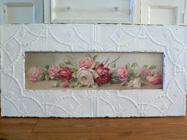 GRACE YARDLONG IN SHABBY SALVAGED ANTIQUE CEILING TIN FRAME