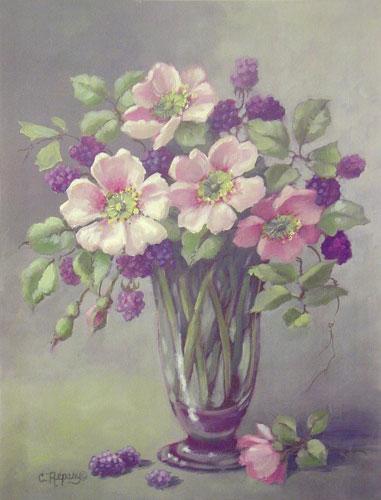 Pink Wild Roses w/Berries