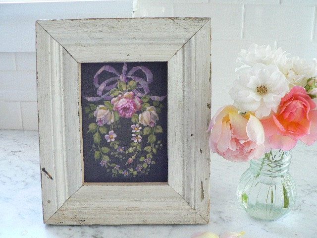 FRENCH AMOUR IN SHABBY OLD WOOD FRAME