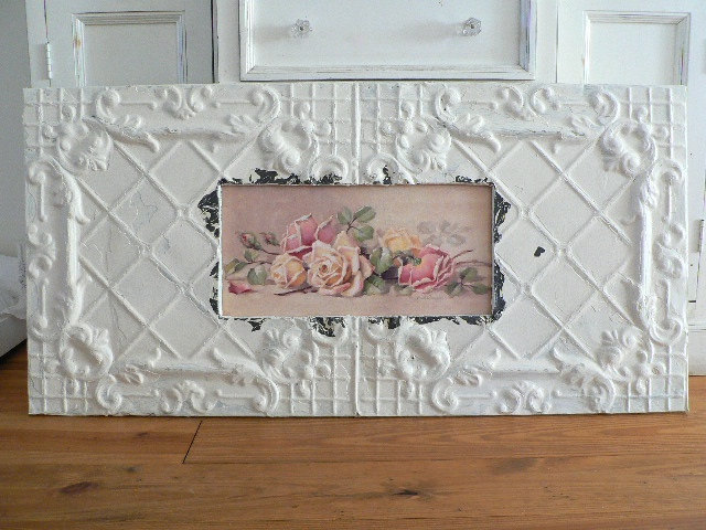 ROSES FOR STYLE BY CHRISTIE REPASY IN SHABBY ANTIQUE CEILING TIN FRAME