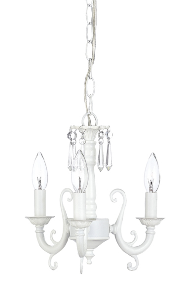 White 3-Arm Scroll Chandelier
