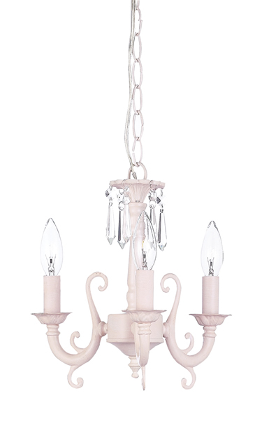 Pink 3-Arm Scroll Chandelier