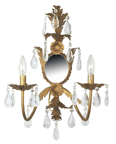 Gold 2-Arm Leaf & Flower Lighted Wallsconce
