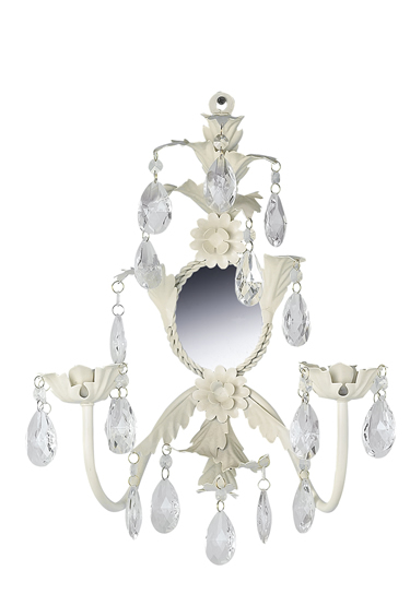 Ivory 2-Arm Leaf & Flower Candle Wall Sconce