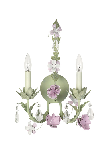 Pink & Green 2-Arm Leaf & Flower Wall Sconce